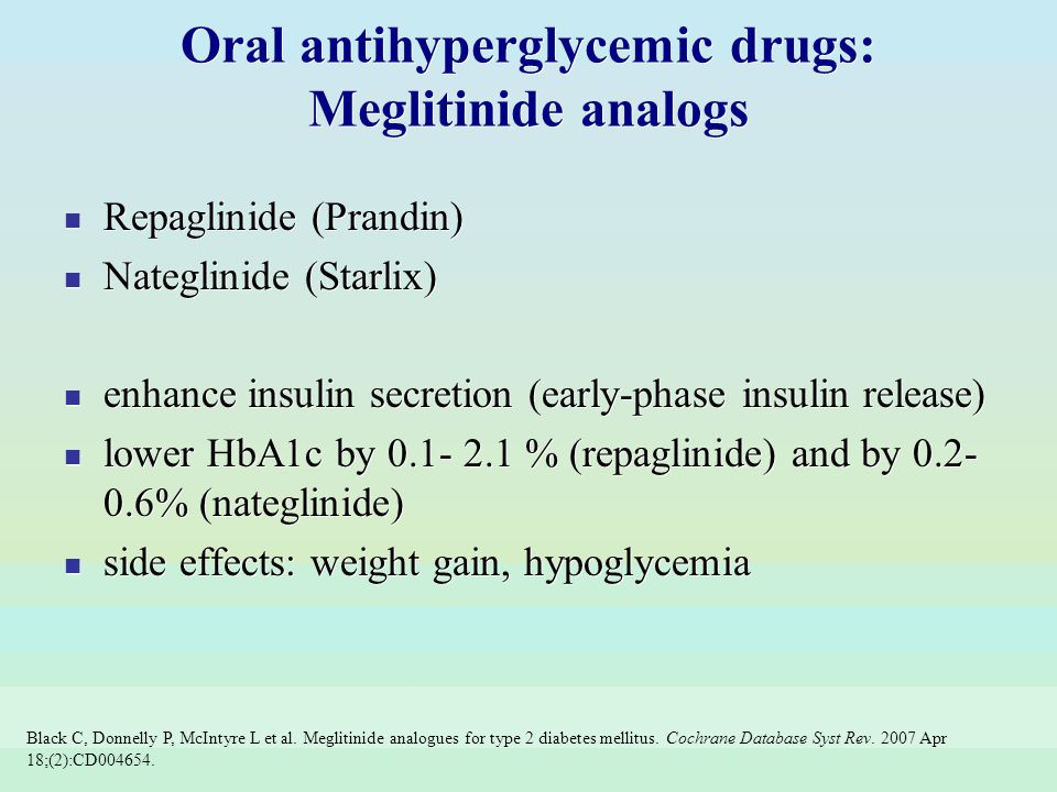 Oral antihyperglycemic drugs: Meglitinide analogs
