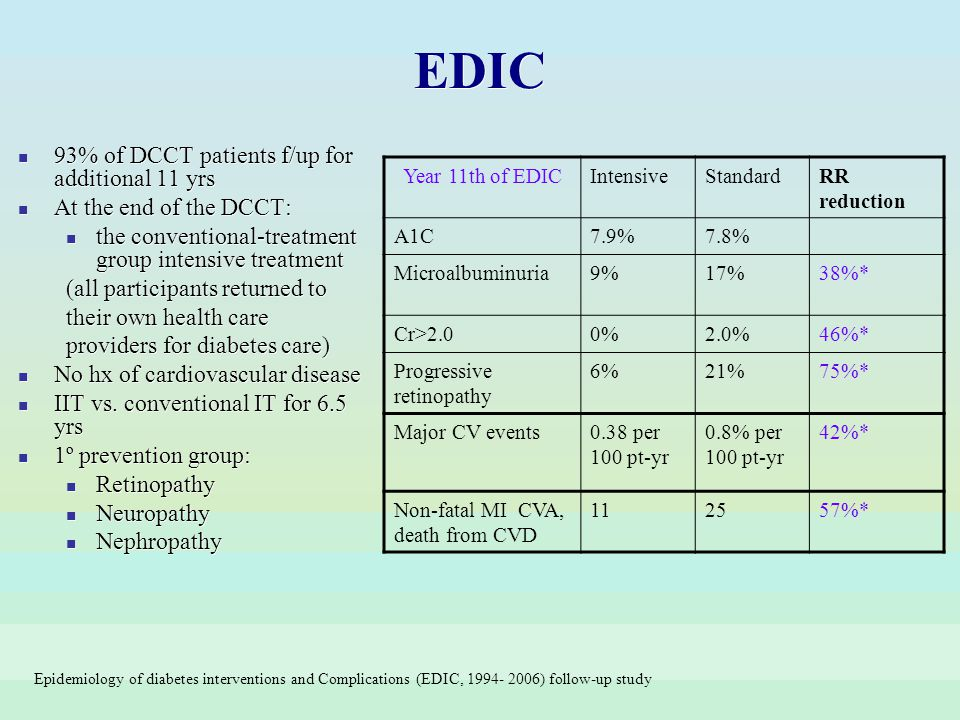 EDIC 93% of DCCT patients f/up for additional 11 yrs