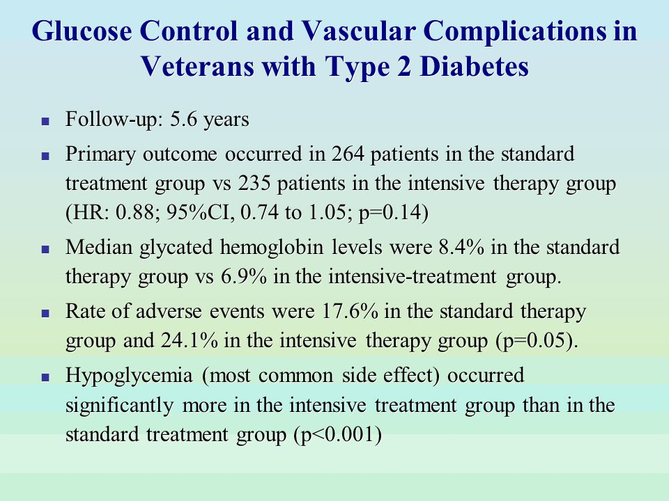 Glucose Control and Vascular Complications in Veterans with Type 2 Diabetes