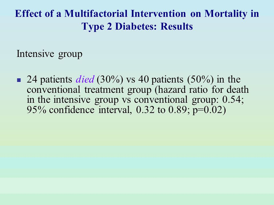 Effect of a Multifactorial Intervention on Mortality in Type 2 Diabetes: Results
