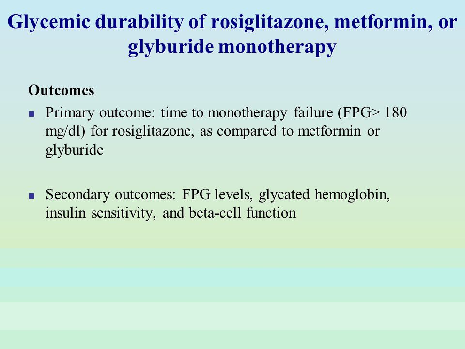 Glycemic durability of rosiglitazone, metformin, or glyburide monotherapy