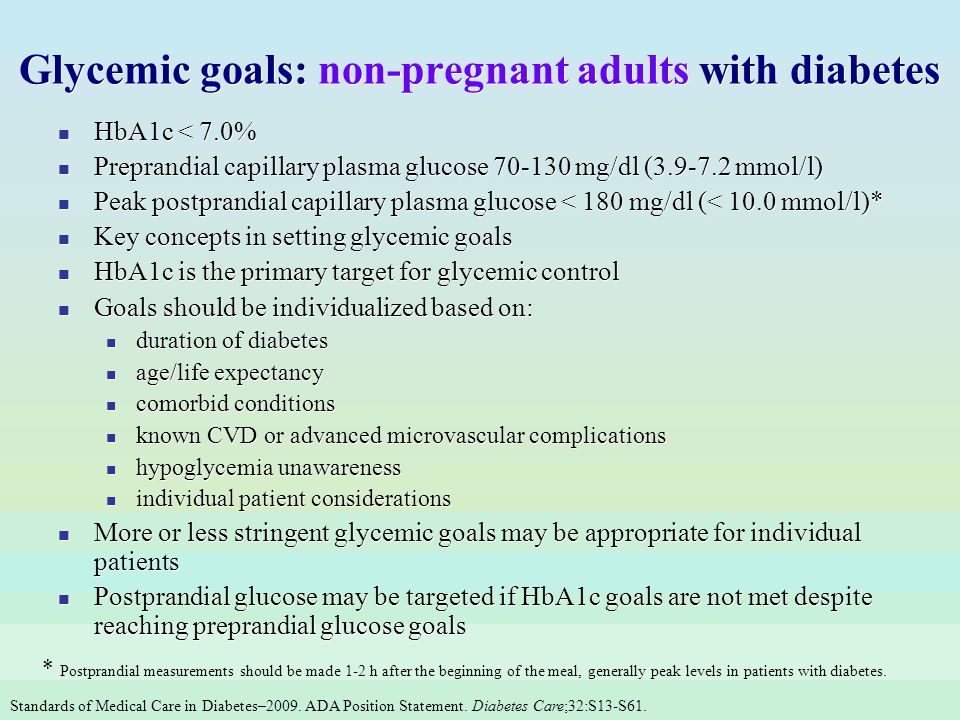 Glycemic goals: non-pregnant adults with diabetes