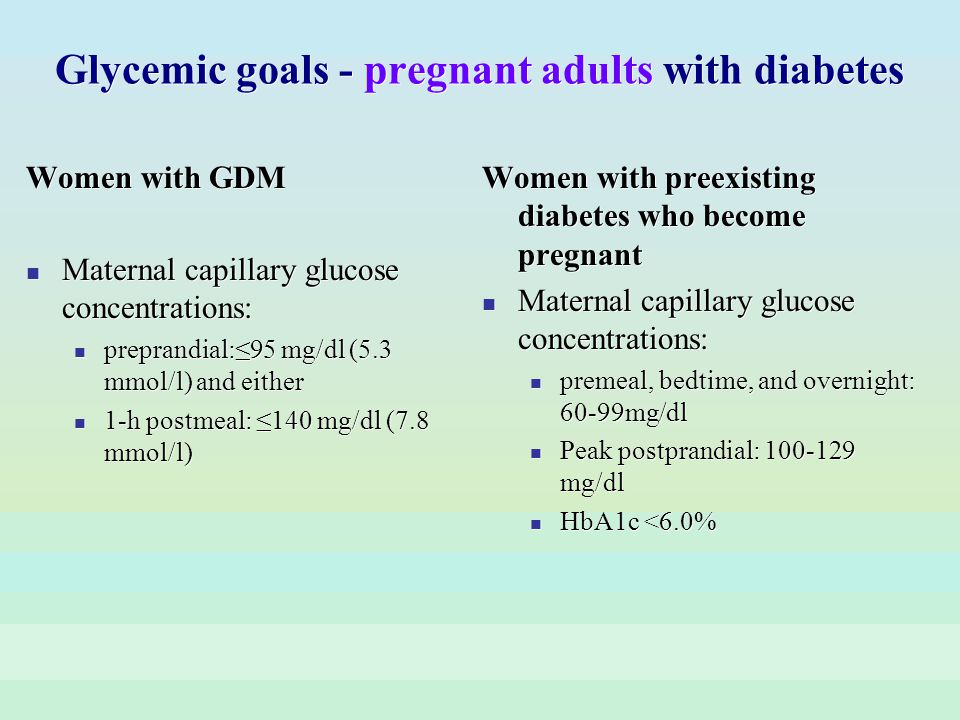 Glycemic goals - pregnant adults with diabetes