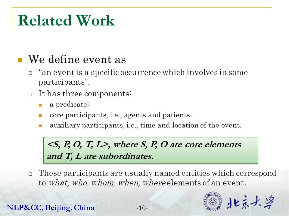 Related Work We define event as