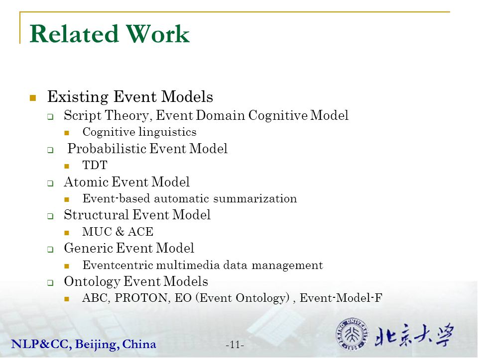 Related Work Existing Event Models