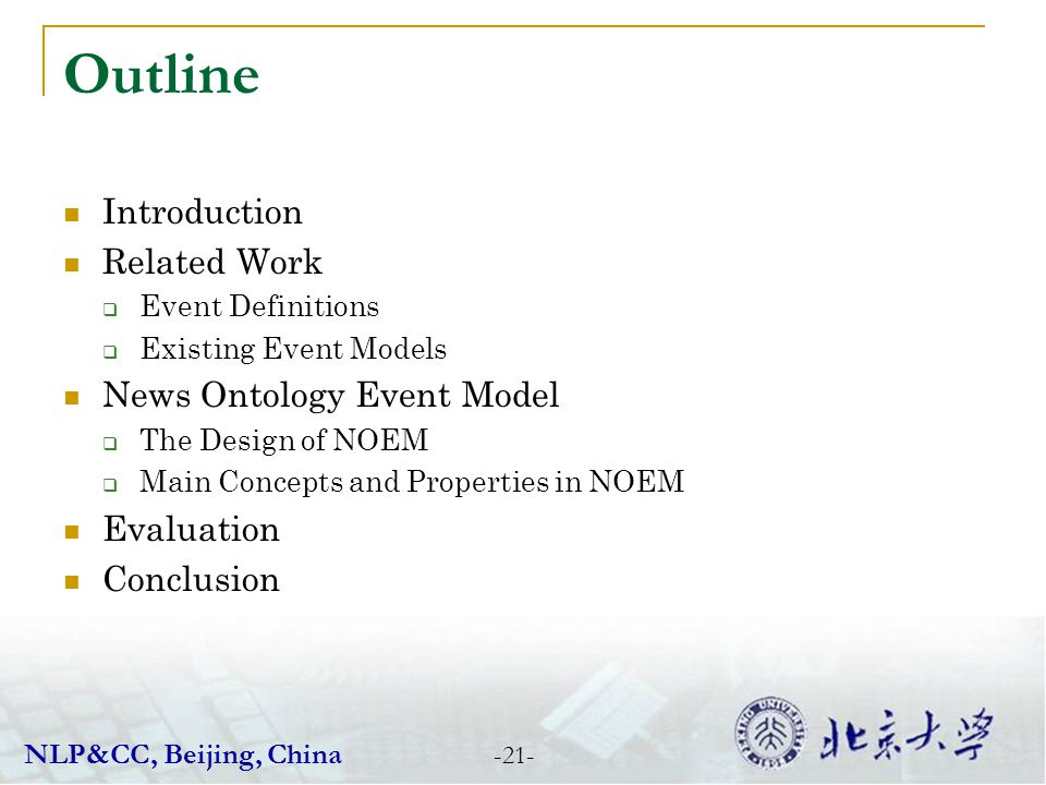 Outline Introduction Related Work News Ontology Event Model Evaluation