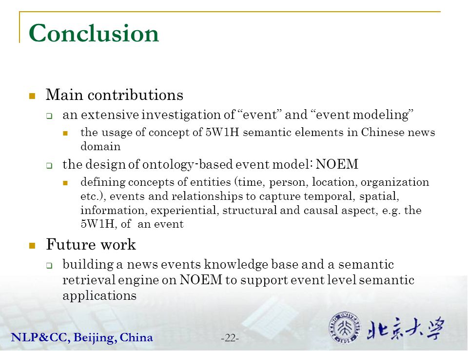 Conclusion Main contributions Future work