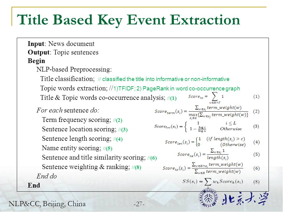 Title Based Key Event Extraction