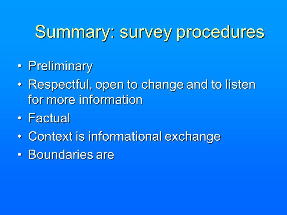 Summary: survey procedures