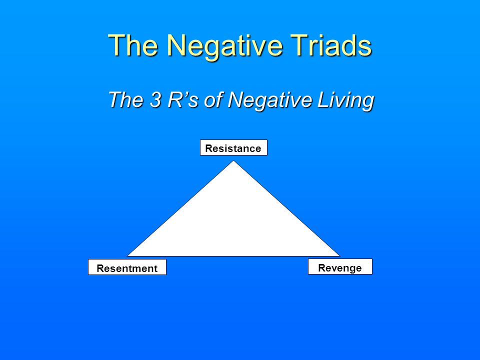 The 3 R's of Negative Living