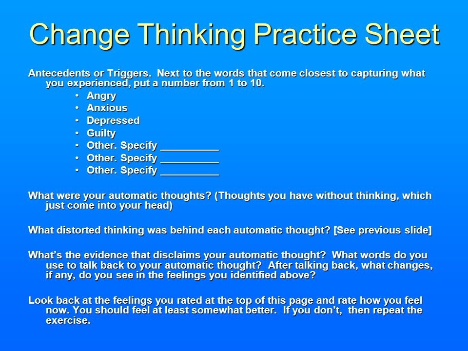Change Thinking Practice Sheet