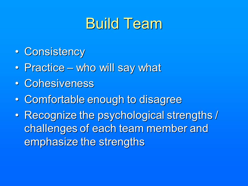 Build Team Consistency Practice – who will say what Cohesiveness