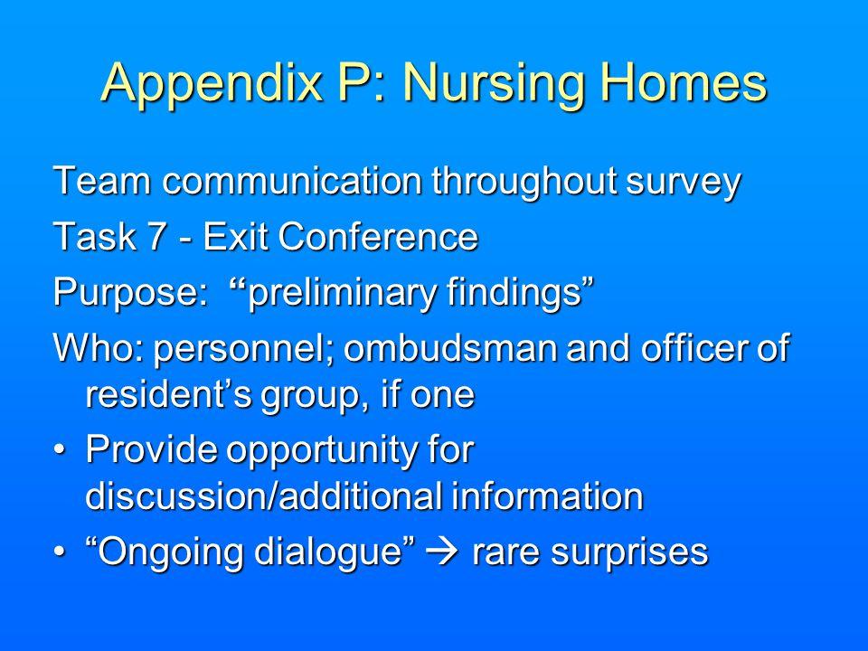 Appendix P: Nursing Homes