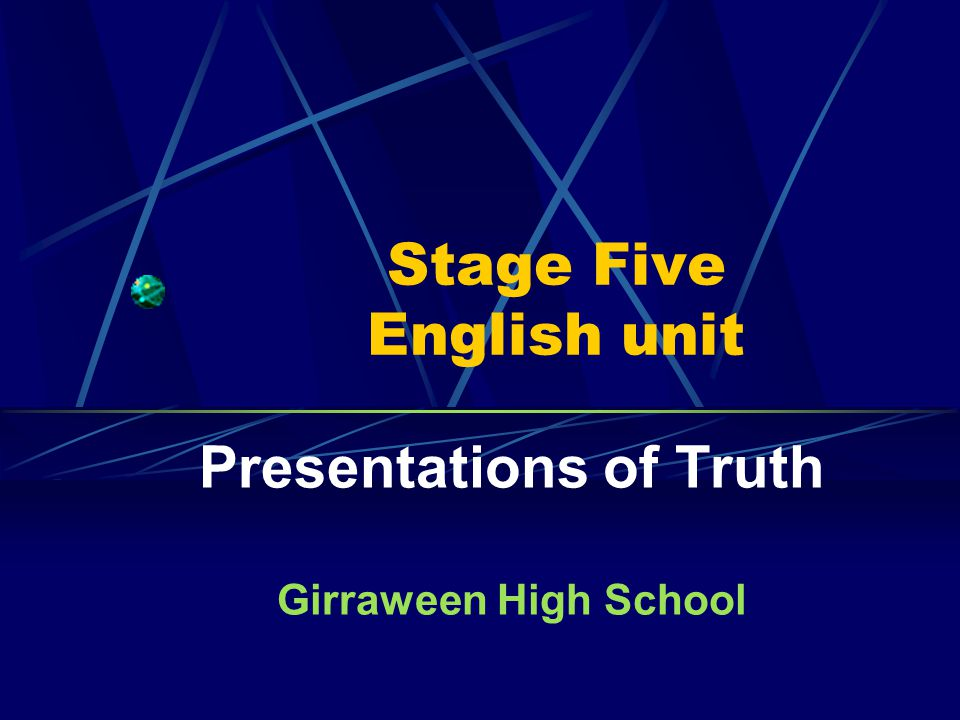 Stage Five English unit