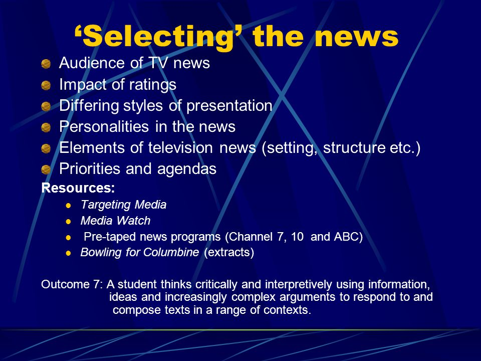 'Selecting' the news Audience of TV news Impact of ratings