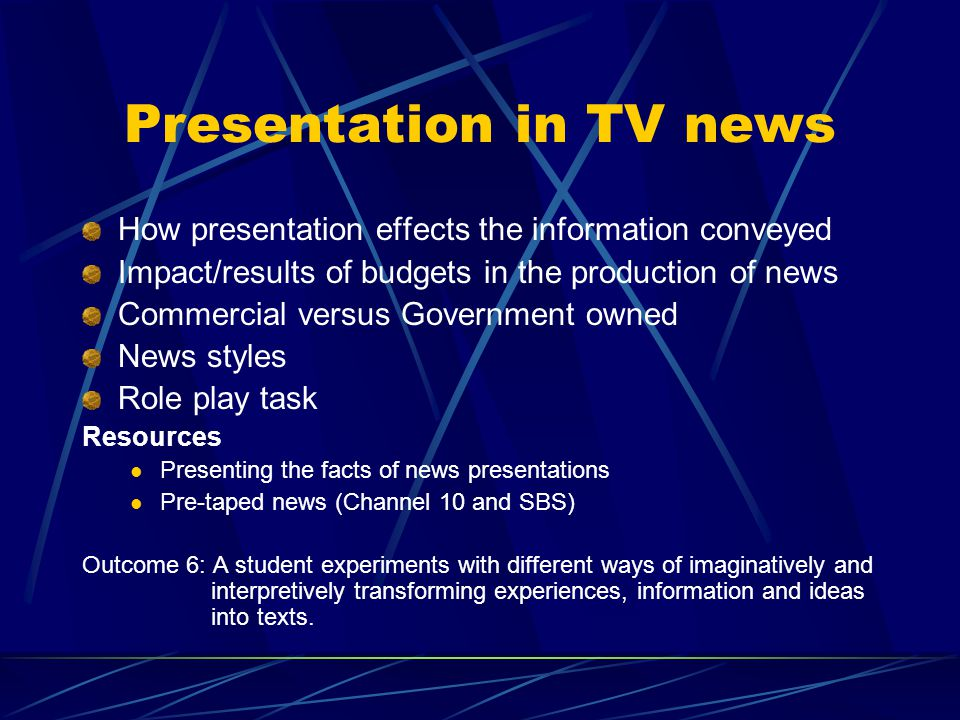 Presentation in TV news