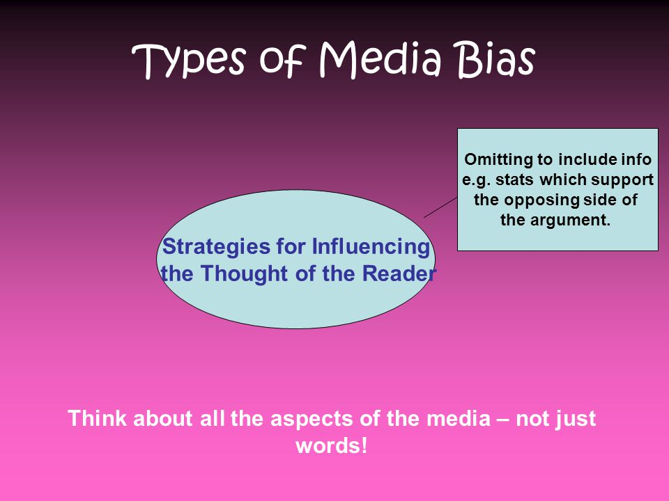 Types of Media Bias Strategies for Influencing