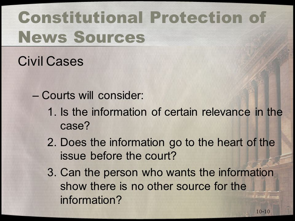 Constitutional Protection of News Sources