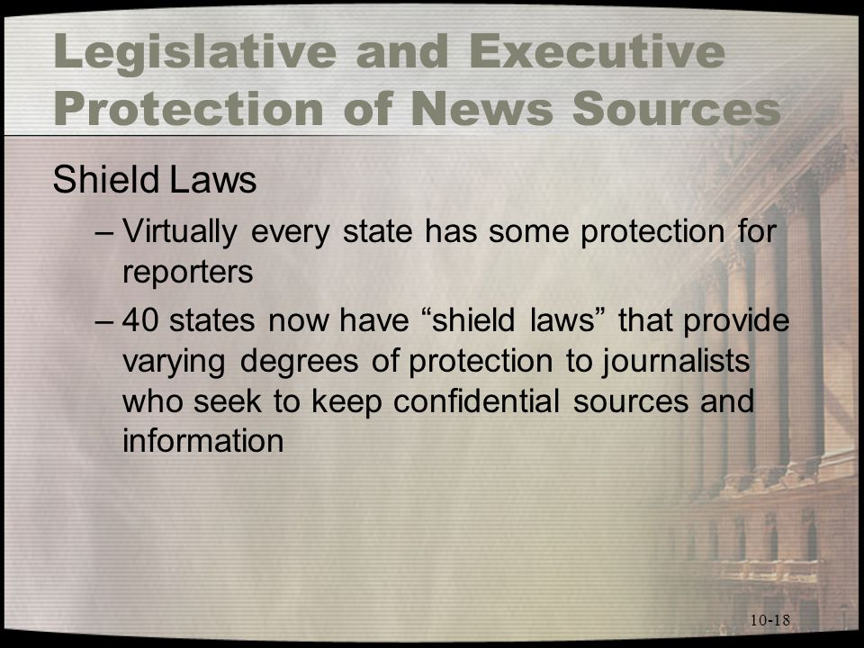 Legislative and Executive Protection of News Sources