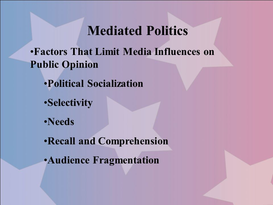 Mediated Politics Factors That Limit Media Influences on Public Opinion. Political Socialization.
