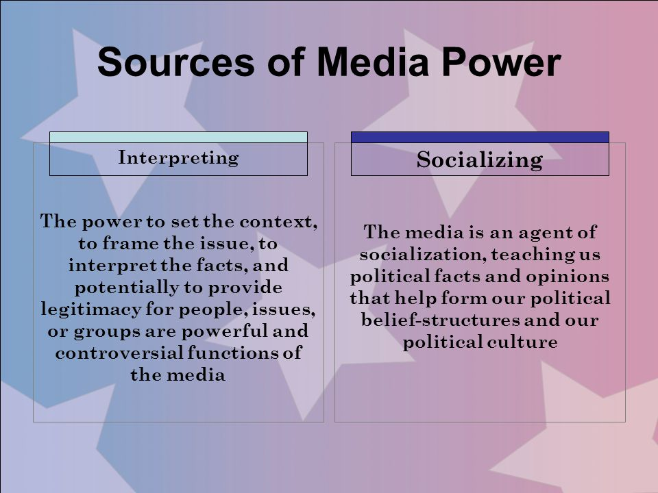 Sources of Media Power Socializing Interpreting