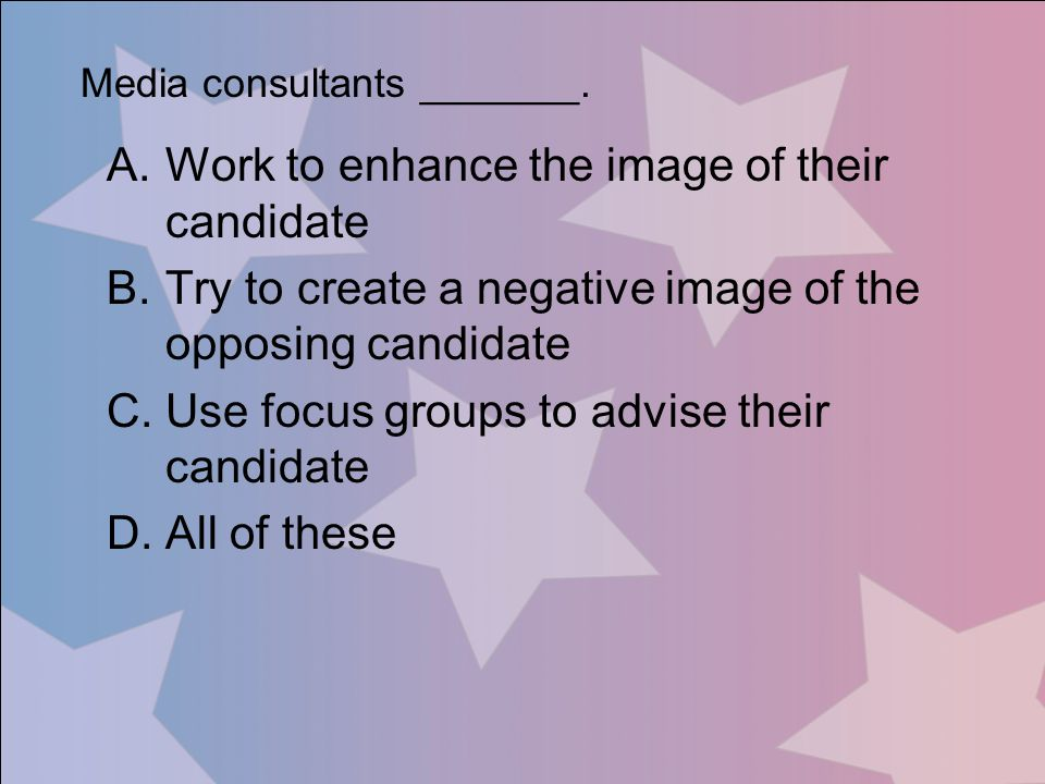 Work to enhance the image of their candidate