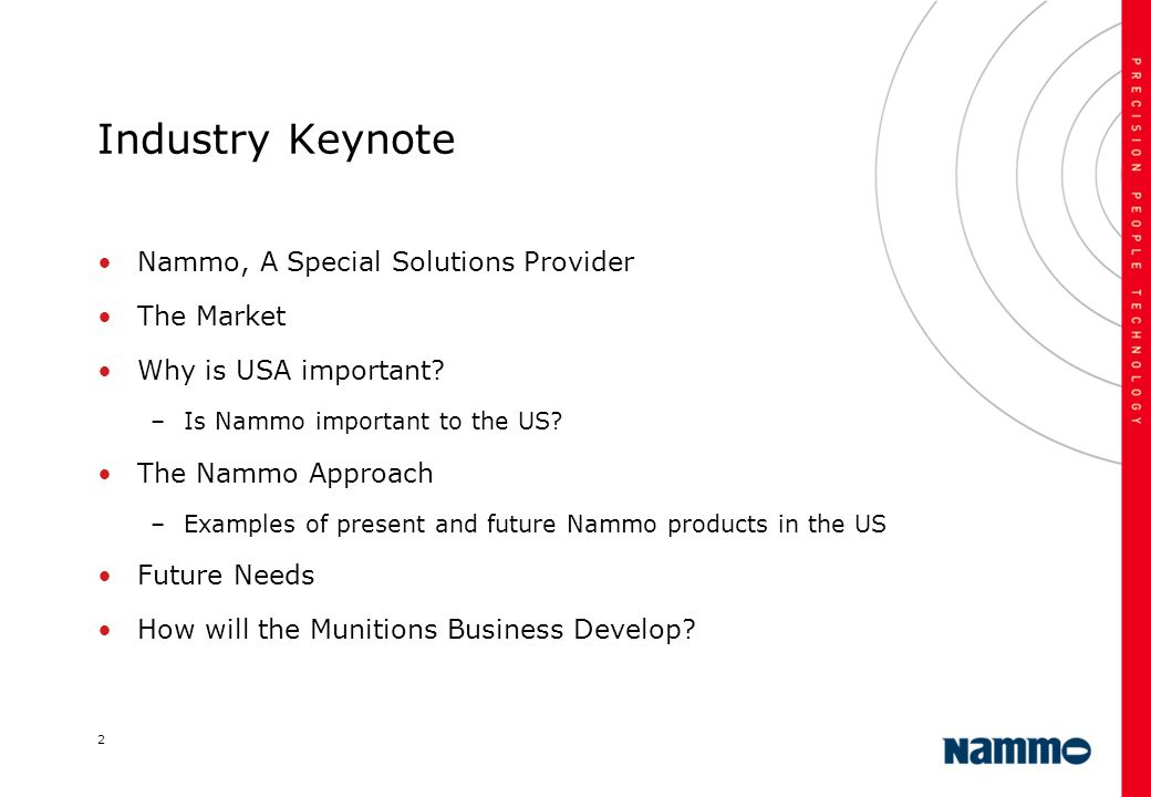 Industry Keynote Nammo, A Special Solutions Provider The Market