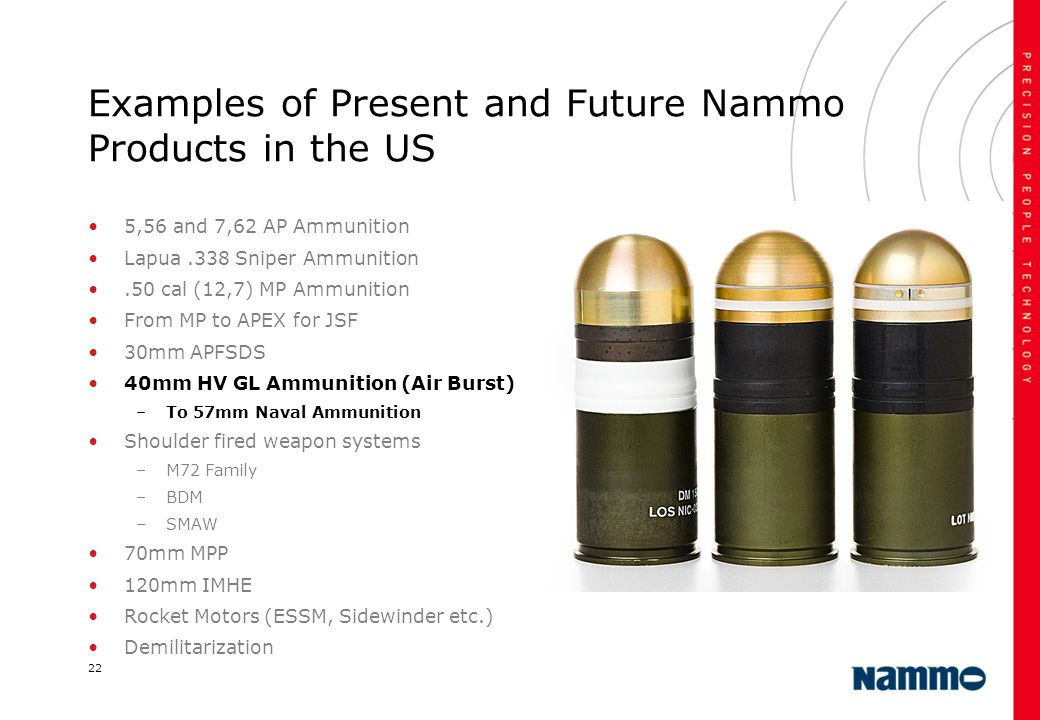 Examples of Present and Future Nammo Products in the US