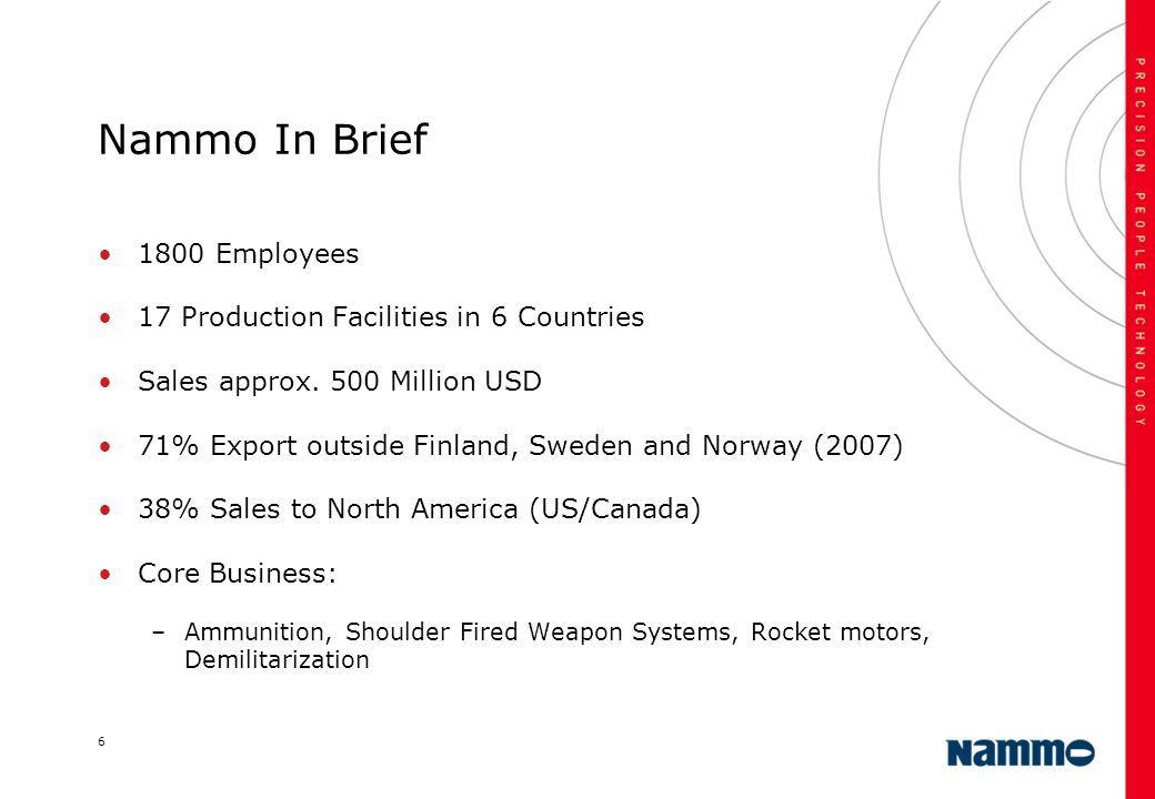 Nammo In Brief 1800 Employees 17 Production Facilities in 6 Countries