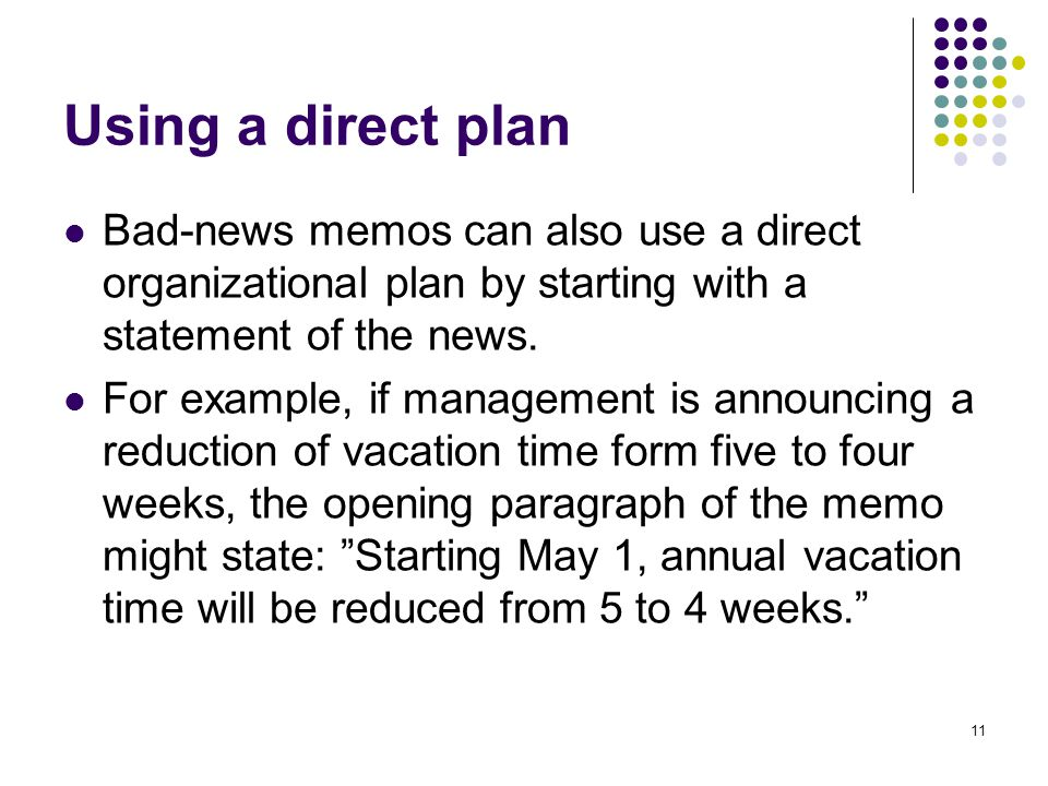 Using a direct plan Bad-news memos can also use a direct organizational plan by starting with a statement of the news.