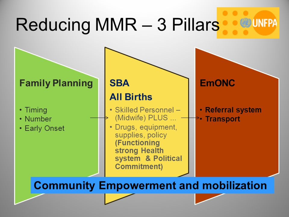 Reducing MMR – 3 Pillars Community Empowerment and mobilization