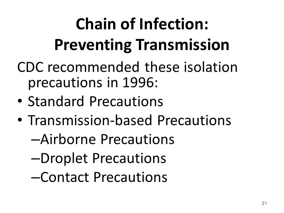 Chain of Infection: Preventing Transmission
