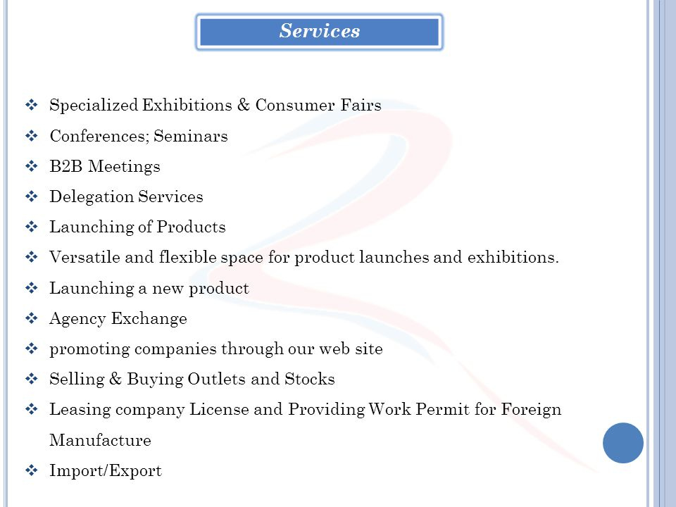 Services Specialized Exhibitions & Consumer Fairs