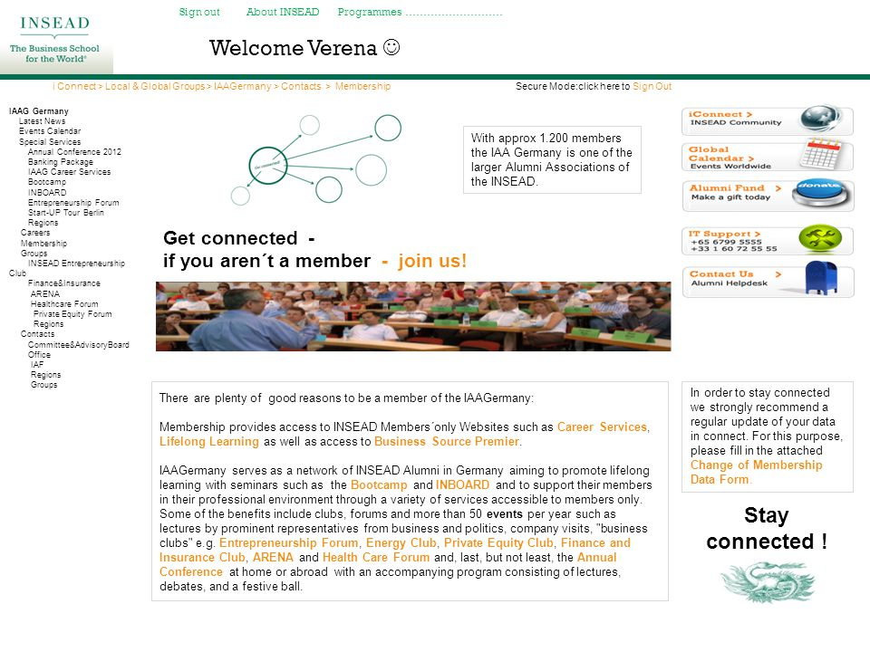 Welcome Verena  Stay connected ! Get connected -