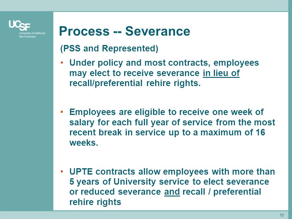 Process -- Severance (PSS and Represented)