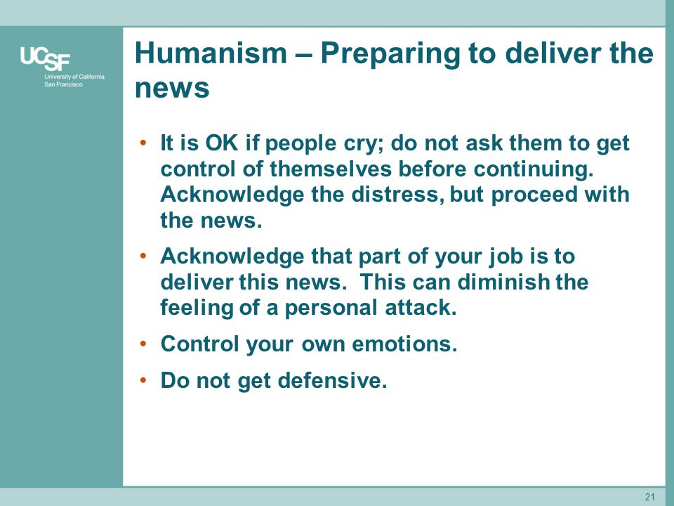 Humanism – Preparing to deliver the news