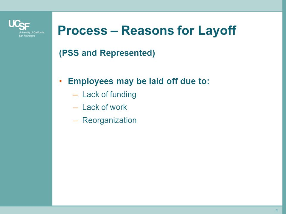 Process – Reasons for Layoff