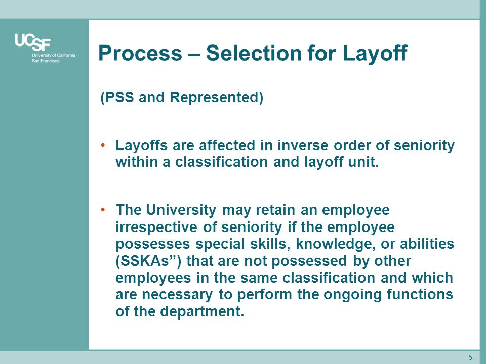 Process – Selection for Layoff
