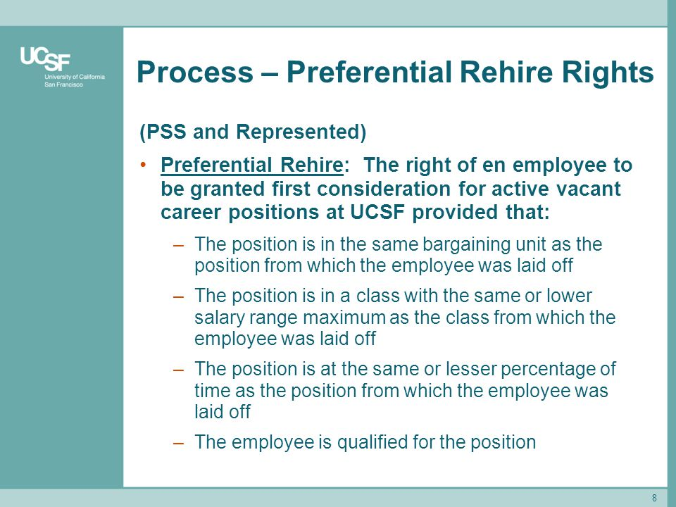 Process – Preferential Rehire Rights