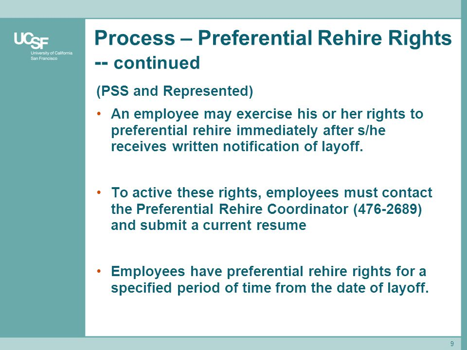 Process – Preferential Rehire Rights -- continued