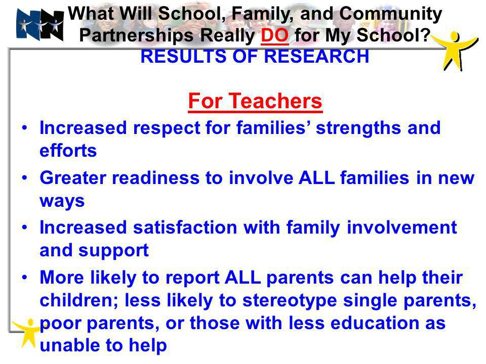 What Will School, Family, and Community Partnerships Really DO for My School RESULTS OF RESEARCH For Teachers