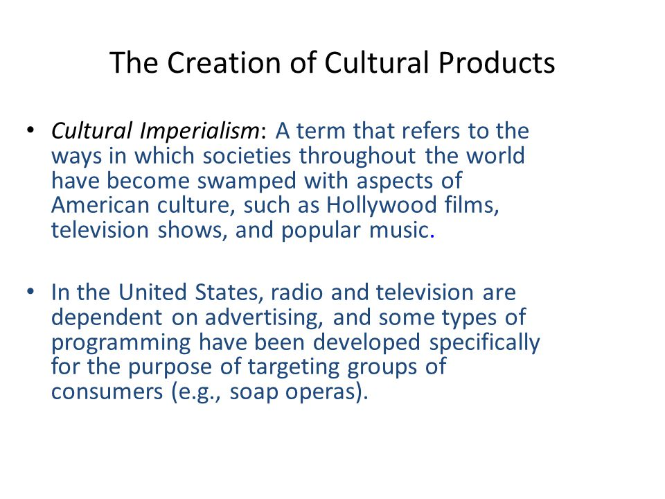The Creation of Cultural Products