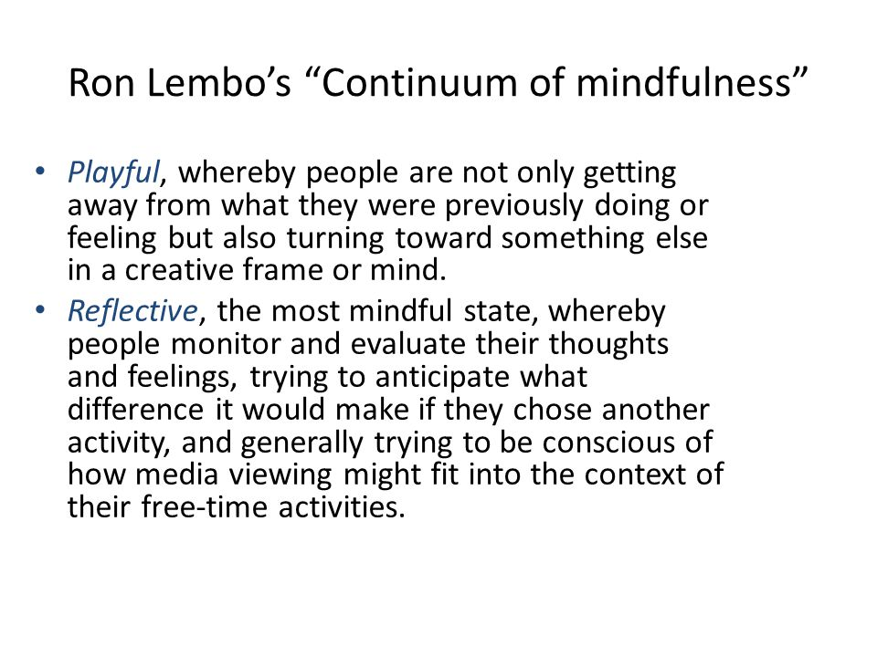 Ron Lembo's Continuum of mindfulness