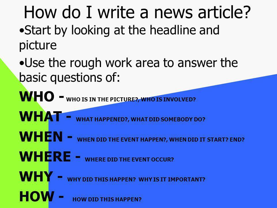 How do I write a news article