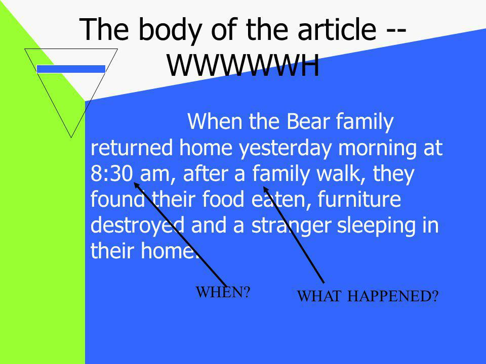 The body of the article -- WWWWWH