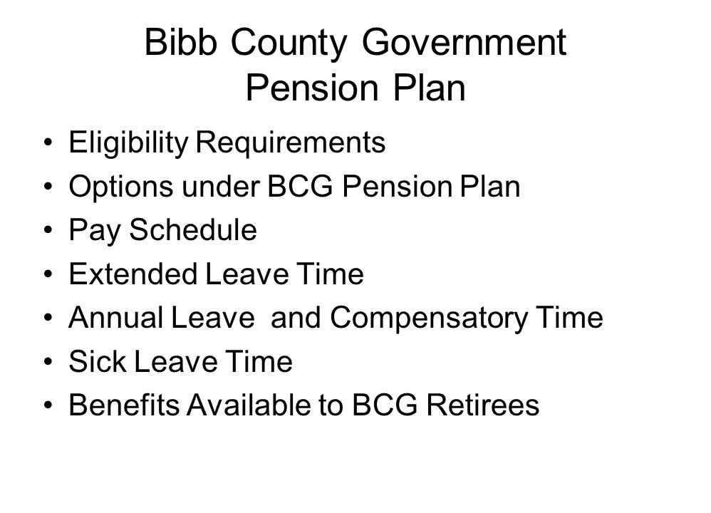 Bibb County Government Pension Plan