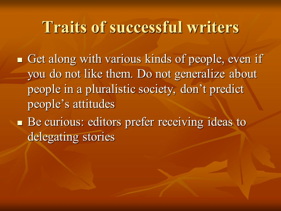 Traits of successful writers