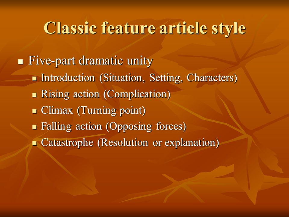 Classic feature article style