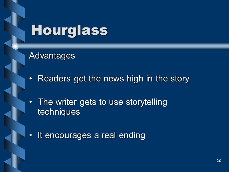 Hourglass Advantages Readers get the news high in the story