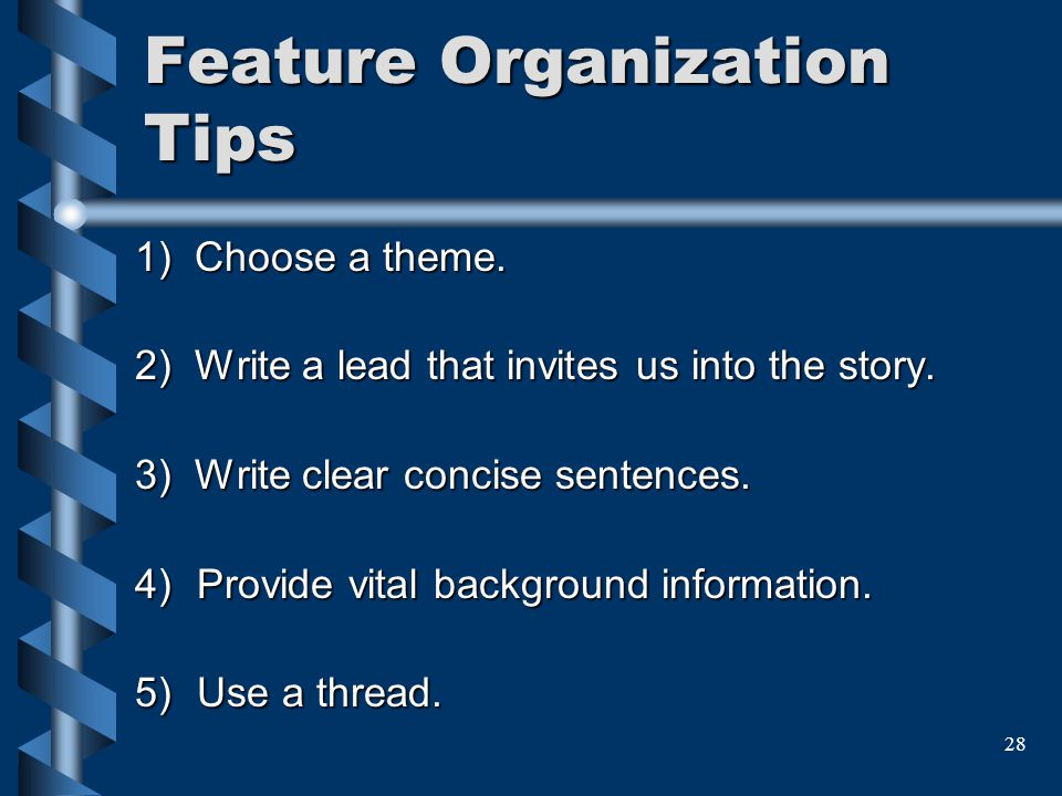 Feature Organization Tips